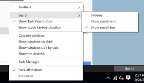 Windows Search Box - change windows search box size in windows 10 tool bar windows