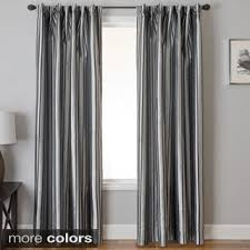 Silver Window Curtains Home Vertical Stripe Cotton Silver Grommet Top Curtain 52