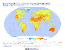 World Temperature Map Maps Global Summer Land Surface Temperature Lst Grids V1 Sedac