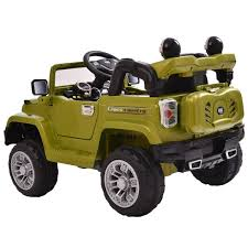 jeep car green 12v mp3 battery power wheels jeep car truck remote kids ride w