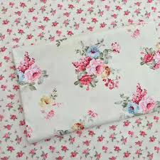 Doll Crib Bedding 100 Cotton Pastoral Beige Poeny Floral Twill Fabric For Diy