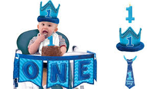 1st birthday boy deluxe blue 1st birthday high chair banner party city canada