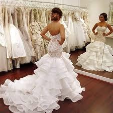 elegant lace 2017 mermaid wedding dress tiered open back strapless