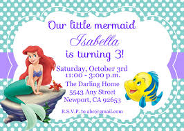 Princess Themed Birthday Invitation Cards Ariel Birthday Invitations Kawaiitheo Com