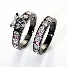 black wedding ring set white heart cut cubic zirconia 925 sterling silver black wedding