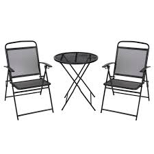 Folding Patio Bistro Set 3 Pc Patio Bistro Set Outdoor Table And Chairs Wrough Iron With
