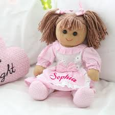 personalised gingham rag doll my 1st years
