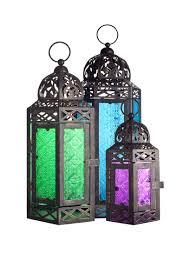 la hacienda moroccan style lantern set of 3 coloured glass