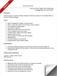 Resume Examples For Hospitality by Restaurant Manager Resume Sample