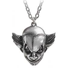 mera luna evil killer clown pewter necklace gothic jewelry clowns
