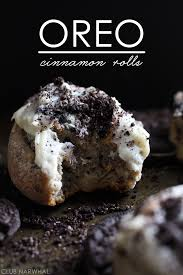 oreo cinnamon rolls swirled with oreo cheesecake filing