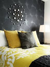 grey and yellow bedroom ideas rustic wood panel headboard two