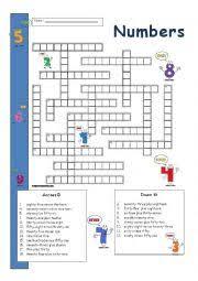 english teaching worksheets numbers crossword