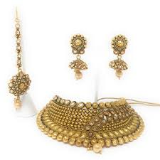 jhumka earring rani padmini gold plated choker necklace set with jhumka earrings