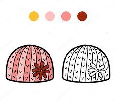 Cahier de coloriage bonnet hiver avec fleur  Image vectorielle