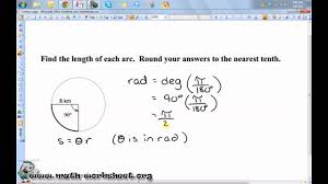 Area Of Sector Worksheet Geometry Circles Arc Length And Sector Area Easy