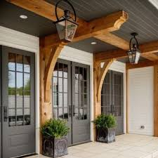 farmhouse porches farmhouse front porch with gray doors and wooden beams va home