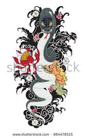 traditional tattoo japanese tattoo stylethe snake stock vector