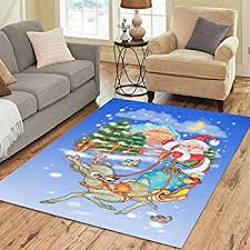 Santa Claus Rugs Amazon Com Christmas Rug Holiday Décor Santa On Sled Area Rug