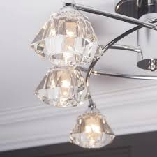 diamond semi flush ceiling light 6 light chrome from litecraft