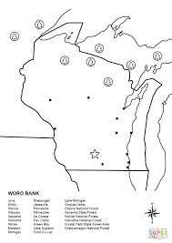 Green Lake Wisconsin Map by Wisconsin Map Worksheet Coloring Page Free Printable Coloring Pages