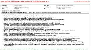 document management specialist cv work experience
