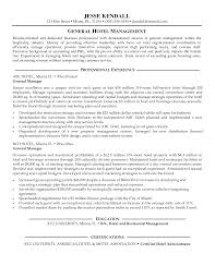 Hotel Management Resume Examples by Resume General Manager Resume Sample