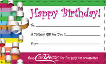 printable gift cards car decor printable gift card girly car accessory gift idea