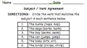 1st grade subject verb agreement by krista lynch tpt