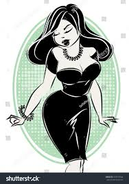 black white pinup woman hand stock vector 533518744