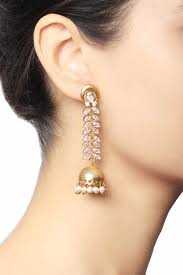 gold jhumka earrings buy gold plated leaf jhumka earrings by baroque studio at