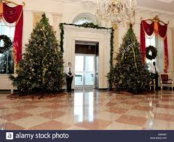 the grand foyer of the white house looking out the door of the