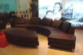 roller espresso leather sectional round sofa leather sectionals