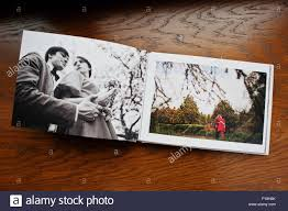 Couple Photo Album Open Pages Of Album Photobook Couple In Love On Wooden Background
