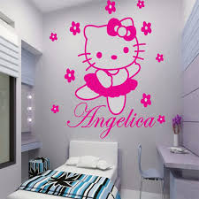 hello kitty bedroom decor hello kitty custom name vinyl wall art wall decals for princess