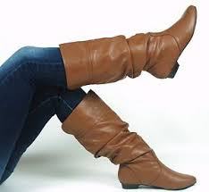 s boots knee high brown low heel flat slouch leatherette knee high boot