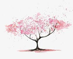 cherry tree gouache pink small fresh painted png image for