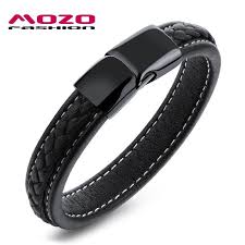 men black leather bracelet images Mozo fashion men black leather bracelet stainless steel magnetic jpg
