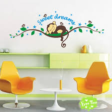 Nursery Monkey Wall Decals Rainbow Fox Wall Decor Sweet Sleepy Monkey Rest On