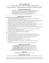 Warehouse Distribution Resume Material Management Resume Sample Warehouse Worker Resume Samples