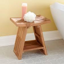 teak asian style shower stool bathroom