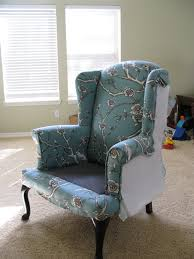 Recovering An Armchair Modest Maven Vintage Blossom Wingback Chair