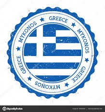 Blue Flag Stars In Circle Mykonos Flag Badge Vintage Travel Stamp With Circular Text Stars