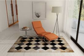 Cowhide Area Rugs Beige And Black Leather Area Rug In Squares Shine Rugs