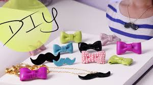 bow necklace diy images Diy accessories how to make a cute bow ring mustache necklace jpg