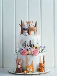 fondant woodland animal cut out cake queques pinterest