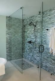 monochromatic gray mosaic subway tiles shower space wall with