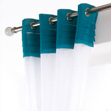 White And Teal Curtains White Teal Voile Curtain Panel Harry Corry Limited