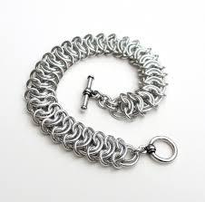 silver weave bracelet images Silver aluminum vertebrae weave chainmaille bracelet 18 gauge jpg