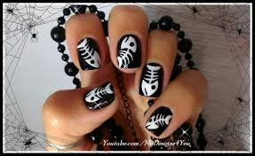 halloween nail art fish bones how to paint seasonal nail art